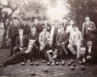 Antique Framed Group Photograph - Men Playing Bocce, Lawn Bowling