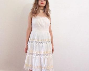 70's Hippie Crochet Lace Gauze Sun Dress sweet vintage medium