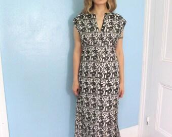 60's Vintage Embroidered Silk Hippie Dress XL