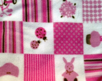 Pink Infant Stroller Blanket - Cuddly Pink and Brown Print Fleece