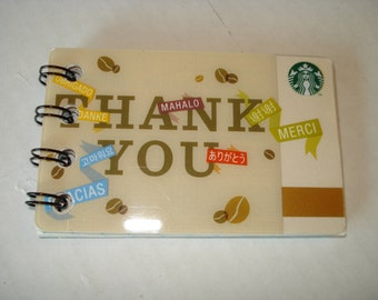 Upcycled Starbucks Thank You Notebook