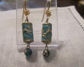 Vintage Chinese Export Sterling Vermeil and Sky Blue Enamel Dangle Earrings