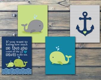 Whales n Waves n Anchors Nautical Boys Nursery Art- Navy Green Baby Boy Nursery Prints - Set of 3 or 4 -Choose Your Size