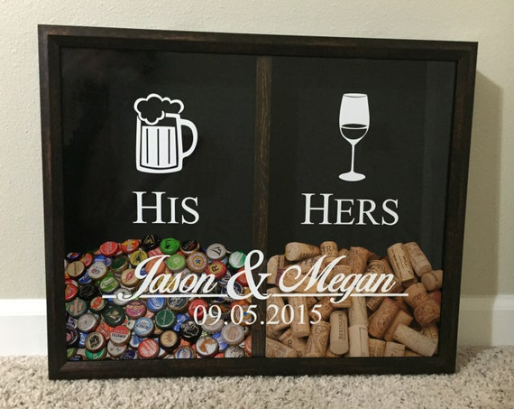 His and Hers, Mr and Mrs Wine Cork and Beer Cap Tab Holder, Wedding ...
