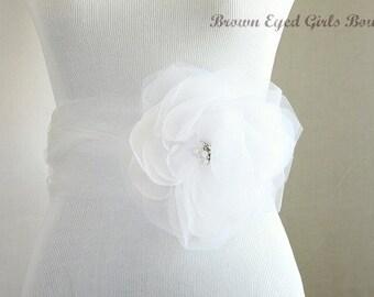 White Bridal Belt, White Organza Bridal Sash, White Wedding Belt, White Bridal Belt, White Floral Belt, White Wedding Sash,