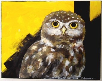 OWL PAINTING ~ Original Acrylic Yellow & Black  -  ART  - Ready to Hang