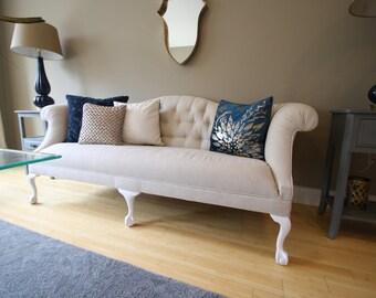 Vintage Reupholstered Linen Sofa