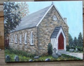 9x12 9 x 12 Original Acrylic Painting church Old St. Luke's