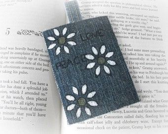 Denim Bookmark, Original Bookmark, Daisy Bookmark, SALE Buy 2 Get 1, Reading Accessory, Page Saver, Teacher Gift, Bookmark Gift, SALE Gift