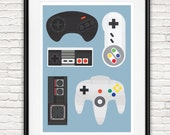 Gaming poster, video game print, man cave decor, nursery wall art, nintendo art, geekery, game room wall art, retro poster, gift for him