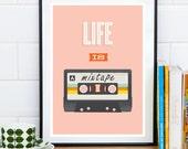 Mixtape print, quote print, retro poster, motivational quote, inspirational art, wall print, home decor, pink print, retro wall decor
