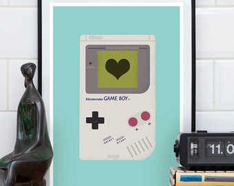 Gameboy poster, video game print, nintendo poster, retro poster, boy room art, man cave decor, 80s style, gaming poster, art for kids