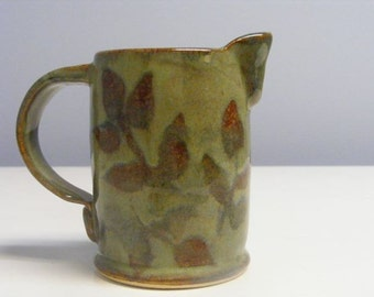 04BB Small Pitcher, Bodum Reject, Leaf Decoration, Green and Brown