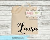 Personalized Canvas Tote // Modern Calligraphy Name // Bridesmaid Tote // Bridal Party Gift // Wedding Gift
