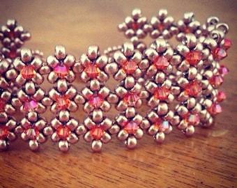 Orange & gold beaded cuff bracelet, beaded bracelet, crystal beaded cuff, orange cuff bracelet