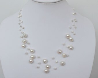 Beautiful Multistrand White Freshwater Pearl Illusion Necklace