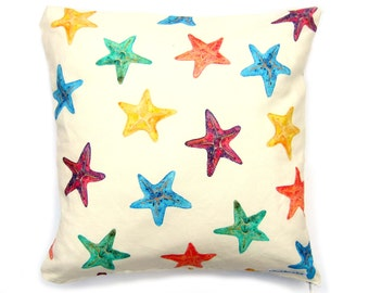 SALE Starfish Cushion Cover, Pillow Cover, Unique Print, Beach Decor, 18x18, Decorative Coastal Throw Pillow, Beach Cottage Decor