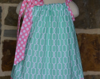 Mint Trellis and Pink Polka Dot Pillowcase Dress