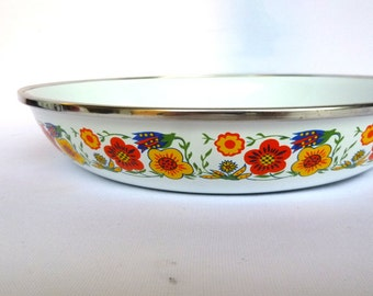 Vintage FLOWER POWER Fry Pan/ enamel on steel