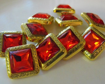 """8 Gold with Red Gem Square Shank Buttons Size 3/4"""""""