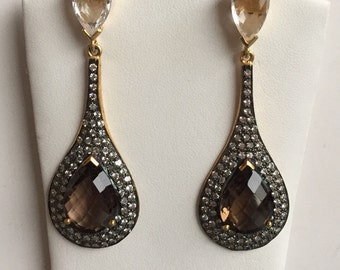 Sterling Silver, Smokey Quartz and White Topaz Dangle Earrings*