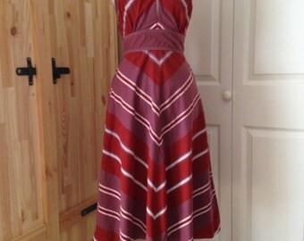 1970s Chevron Stripe Summer Day Dress - S