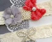 Wedding Garter Bridal Garter Coral Red Grey Lace Garter Set Rhinestone Garter Crystal Pearl Garter Beach Wedding GR163LX