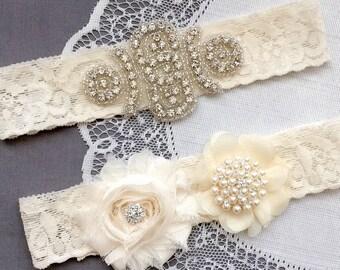 Wedding Garter Belt Set Bridal Garter Set Ivory Lace Garter Belt Lace Garter Set Rhinestone Crystal Pearl Center Garter GR139LX