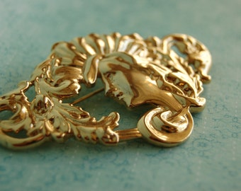 Vintage Art Nouveau Style Brooch - Pendant - Marked JBA - Retro Antique Style