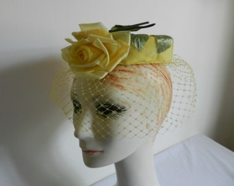 Vintage Yellow Rose Circle Halo Hat with Veil Lawn Party, Garden Party