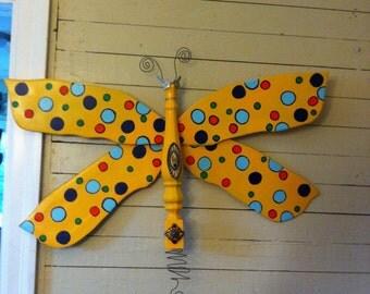 Shabby Bug Dragonfly-Yellow Polka Dots