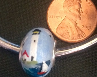 Lighthouse Large Hole Bead - Sterling