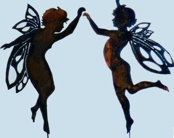 Dancing Pair of Sprites Yard Art by Rustiques Garden Art