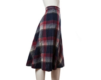 Vintage plaid a-line pleated skirt -- 70s red white, navy blue wool skirt -- size medium