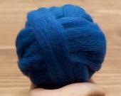 Wool Roving for Needle Felting in Steller's Jay Blue, Wet Felting, Spinning, Classic Blue, Dark Blue, Cobalt, Craft Supplies, Fiber Arts