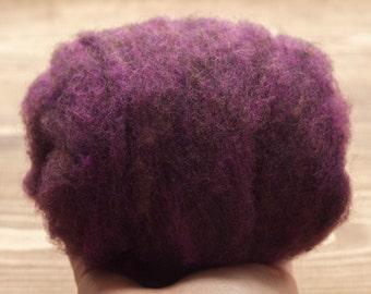 Blackberry Needle Felting Wool, Wool Batting, Batts, Wet Felting, Spinning, Dyed Felting Wool, Purple, Dark Purple, Fiber Art Supplies
