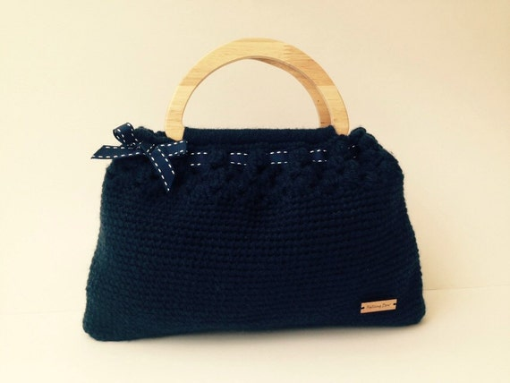 Bags Purses Handbags Wooden Handles Crochet Handbag Navy Colour With a ...