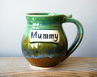 MADE TO ORDER, One 16 ounce Personalized Mug, Coffee Mug, Handmade Pottery, Handmade Ceramics by RiverStone Pottery