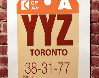 Retro Luggage Tag YYZ Print Oxblood and Orange