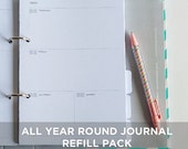 ADD-ONS : Inserts for 6x8 2-Ring Binder - All Year Round Journal Undated Daily Planner Sheets