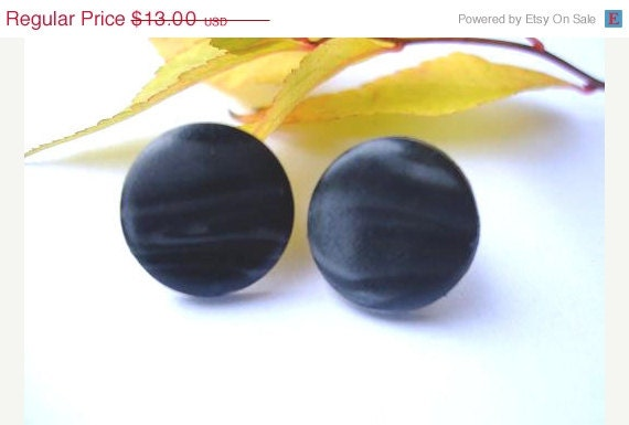 Black Mist Stud Earrings Polymer Clay. Black Jewelry. Small Tiny Black Earrings. Gift Under 15