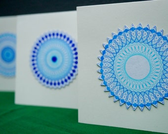 Blue Spirograph card set (4)