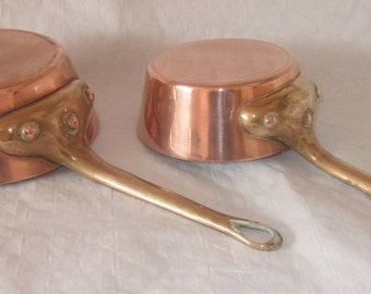 Magnificent English set of 2 leon jaeggi helveta thick copper splayed pan 2.5mm
