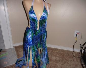 NEW DANCER DISCOUNT  fun with fringe   medium/large scales Gabrielle's Costumes stripper wear club wear exotic dancer