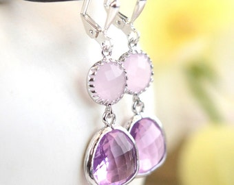 SALE - Small Lavender and Soft Pink Jewel Drop Earrings in Silver.  Pink Bridesmaids Dangle Earrings. Jewelry Gift.  Wedding. Drop. Gift.