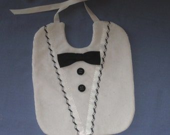 Infant Tuxedo Fancy Bib for Portrait or Special Occasion or Wedding