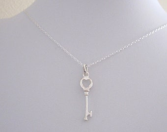 Heart KEY sterling silver charm pendant with necklace chain, Love, Valentine's Day jewelry