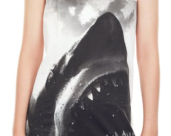 Shark Shirt Shark Tank Top Shark Attack Jaws Movie Animal Women Shirt Tunic Top Vest Sleeveless Tank Top Size M,L,XL - JWT33