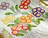 Auriculas theatre textile art, Contemporary Art Quilt, Textile Wall Art, Embroidery Beads, colorful flowers, auriculas primroses, Home Decor