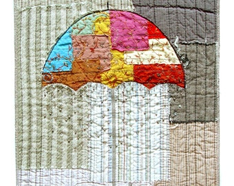 Colorful umbrella textile wall art, art to frame, jewel colors, abstract umbrella, embroidery beading art, home decor, neutral background